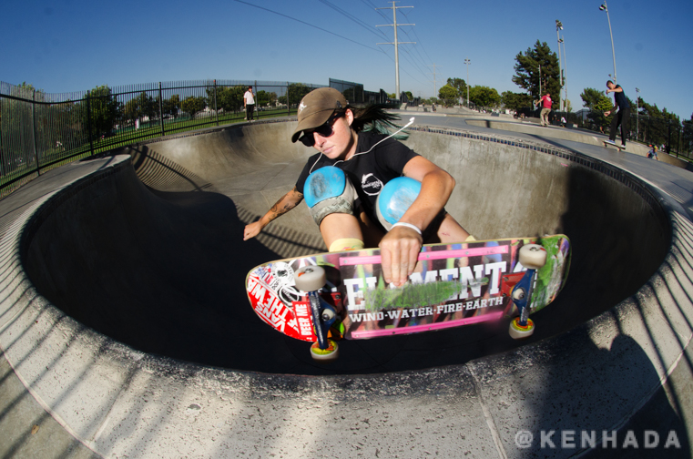 Ken Hada photography, skateboarder Kristy Scott tuck knee clover Chino skateboard park