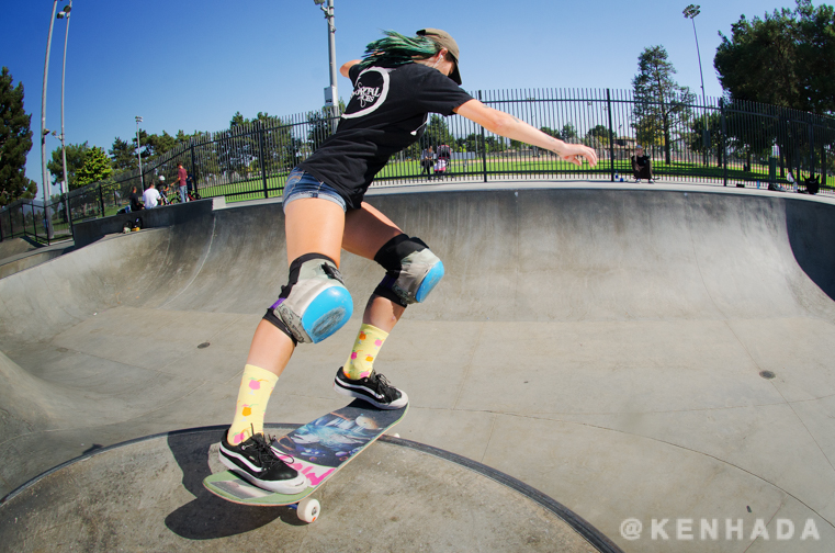 Kristy Scott Tuck Knee on the peninsula, Chino skateboard park.